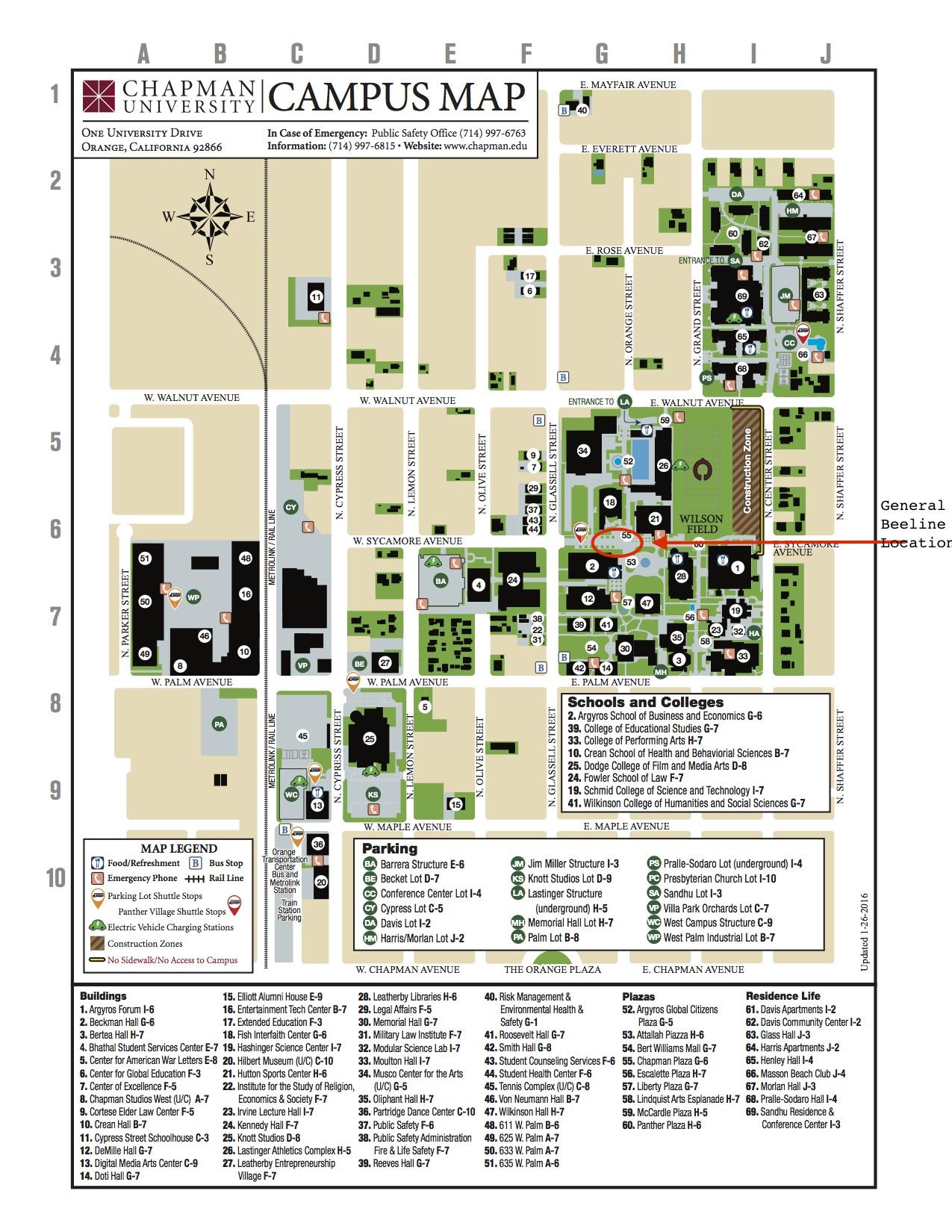Chapman Campus Map | Park Map